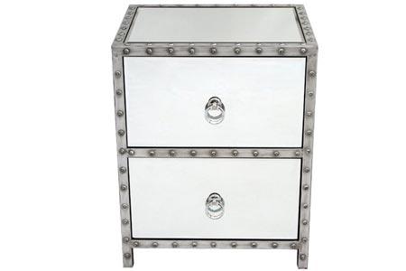 Studded Metal Bedside Table
