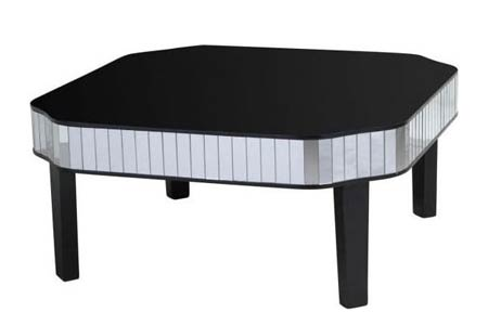 Clavier Mirrored Black Coffee Table