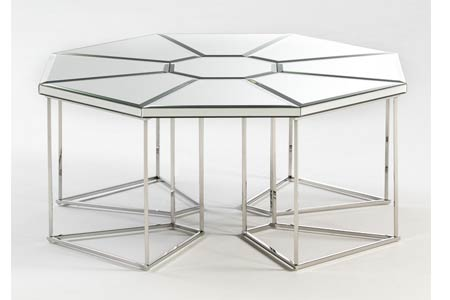 Hexagon Mirrored Coffee Table