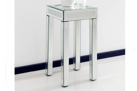 Striped Mirrored Side Table